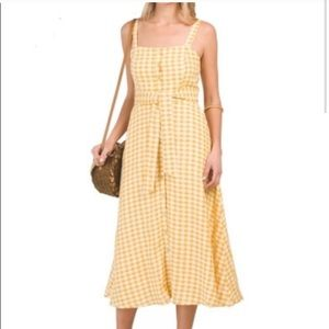 Cynthia rowley yellow checkered linen dress